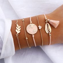 KISSWIFE 5 adet/takım harita kalp kabuk püskül boncuk zincir Charm kolye bilezik moda kadınlar takı doğrudan satış