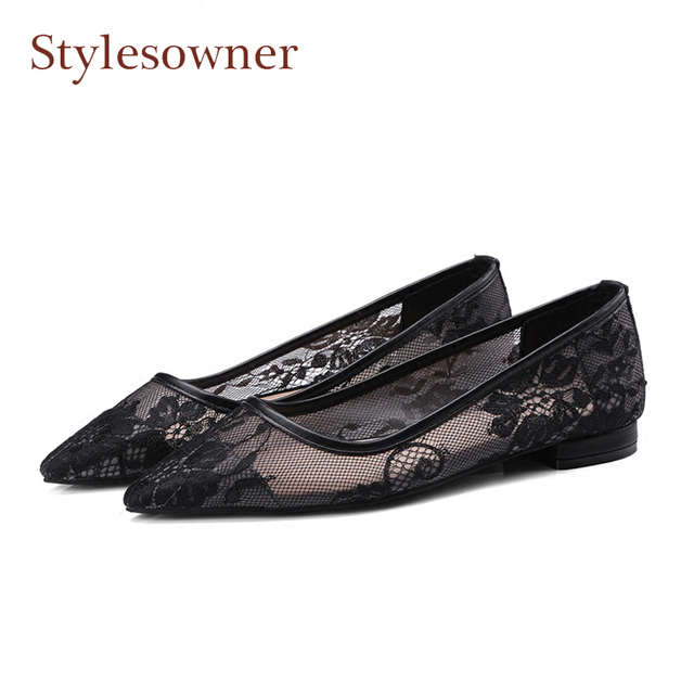 fff34f12ba4b6 Stylewowner newest pointed toe mesh flats shoes for women sexy black lace  all match casual shoes breathable cozy daily shoes