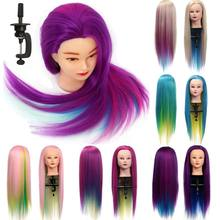 27 inch Professional Salon Practice Head Colorful High Temperature Fiber Hair Model Hairdressing Mannequin With Clamp Holder New(China)