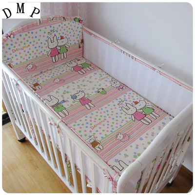 Promotion! 5PCS crib bedding sets Babysing Nursery Care Cotton Baby Bedding Set Cartoon Bumper Set (4bumpers+sheet)