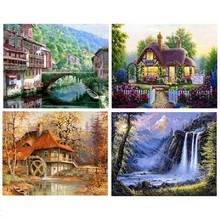 5D needlework DIY diamond embroidery Landscape Picture Full mosaic resin round Rhinestone sea Maple grove house painting pattern