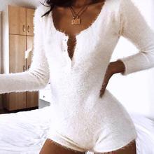 Velvet Faux Wool Playsuit Women Long Sleeve O Neck Button Up Solid White Bodysuit Autumn Winter