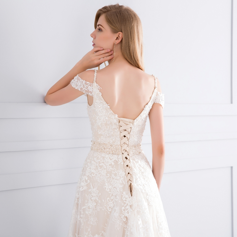 Appliques Lace Crystal A-line Court Train Champagne Wedding Dress