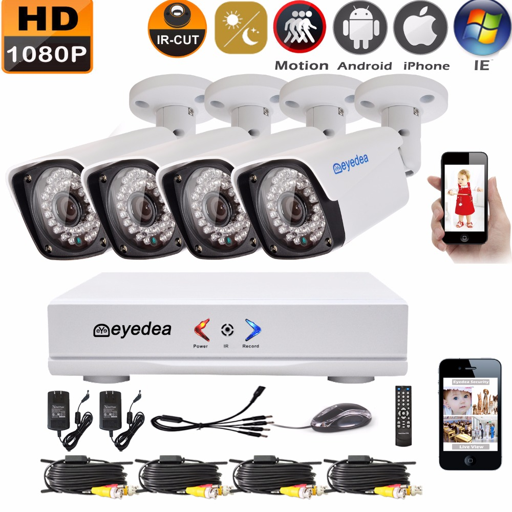 Eyedea 4CH HDMI DVR Recorder HD 1080P 2.0MP 5500TVL CMOS Bullet Night Vision Outdoor Waterproof Home CCTV Security Camera System eyedea 16ch video dvr recorder hd 1080p bullet black outdoor cmos night vision business cctv security camera surveillance system