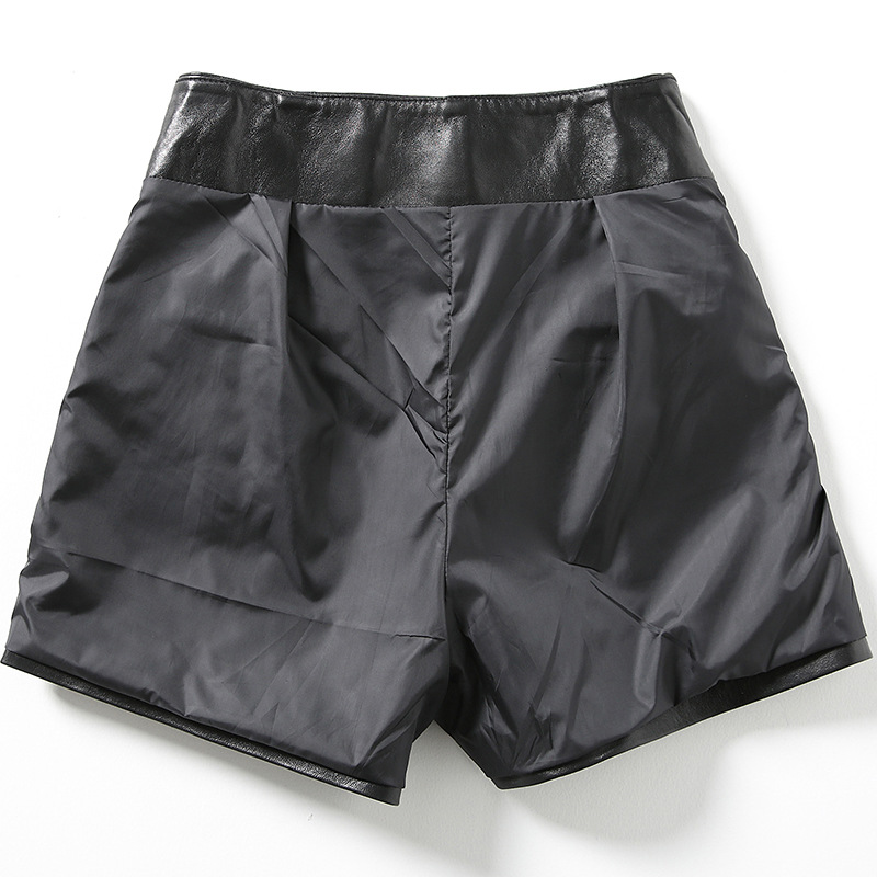 2019 Nova Moda Mulheres Sexy Preto de pele de Carneiro Shorts de Couro Genuíno Rendas Até Fino de Alta Qualidade do Sexo Feminino Bermudas Retas Saias 3XL - 3