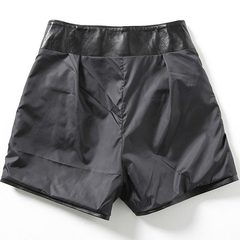 2019 neue Mode Frauen Sexy Schwarz Aus Echtem Leder Schaffell Shorts Schnüren Schlanke Hohe Qualität Weibliche Gerade Shorts Röcke 3XL - 3