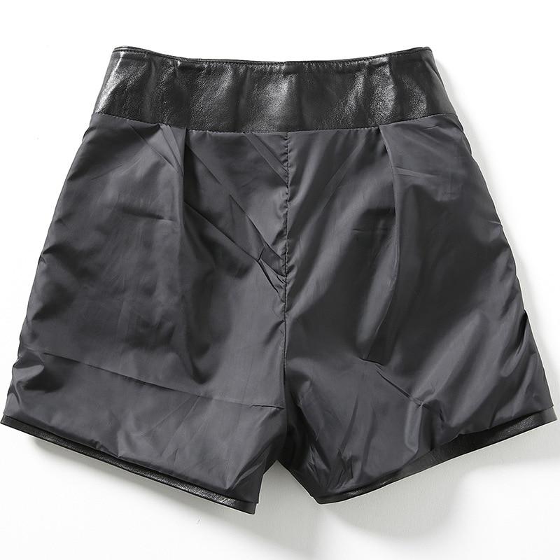 2019 nouvelle mode femmes Sexy noir en cuir véritable en peau de mouton Shorts à lacets mince haute qualité femme droite Shorts jupes 3XL - 3