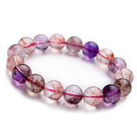 12mm Natural Bracelet Genuine Purple Super Seven 7 Multi Colors Mix Clear Stretch Bracelets Round Beads Melody Stone 7