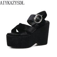 AIYKAZYSDL Summer Women Sandals Platform Wedge Ultra High HeelS Comfort Ankle Strap Buckle Cross Strap Velvet