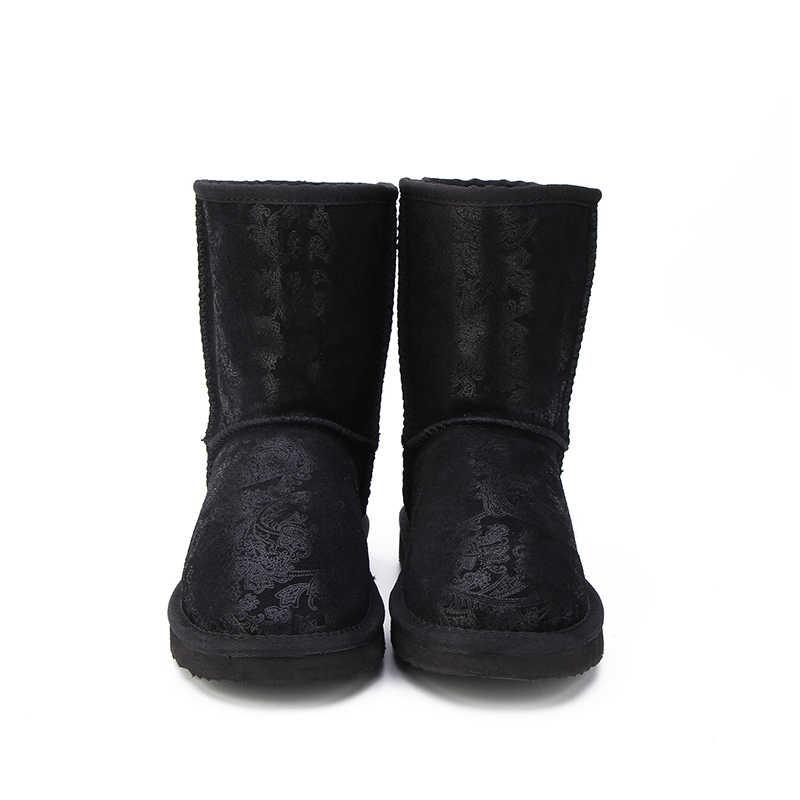HABUCKN 2018 Stil Heißer Verkauf 100% Echtem Leder Mode Mädchen Winter Schnee Stiefel Für Frauen Warme Winter Schuhe Freies Verschiffen