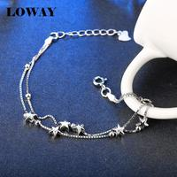 LOWAY Simple Star Chain Link Bracelets 925 Sterling Silver Jewelry Fashion Bracelet Femme Joyas De Plata