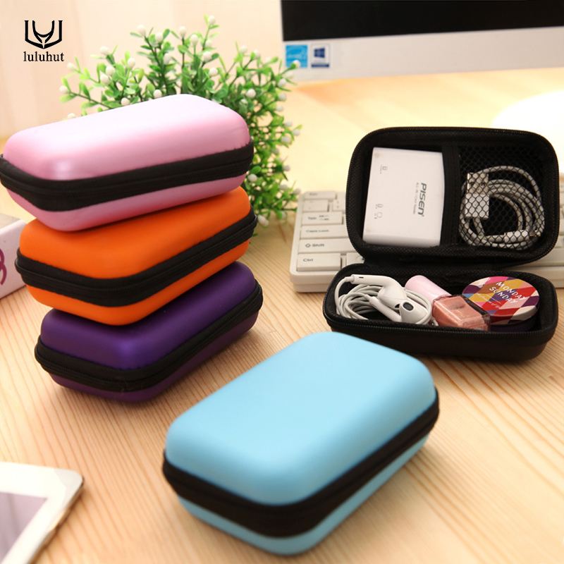 Luluhut Anti Press Hard Storage Box Case For Earphones Headphone SD Card Zipper Carrying Bag For Ear Buds Usb Cable Organizer