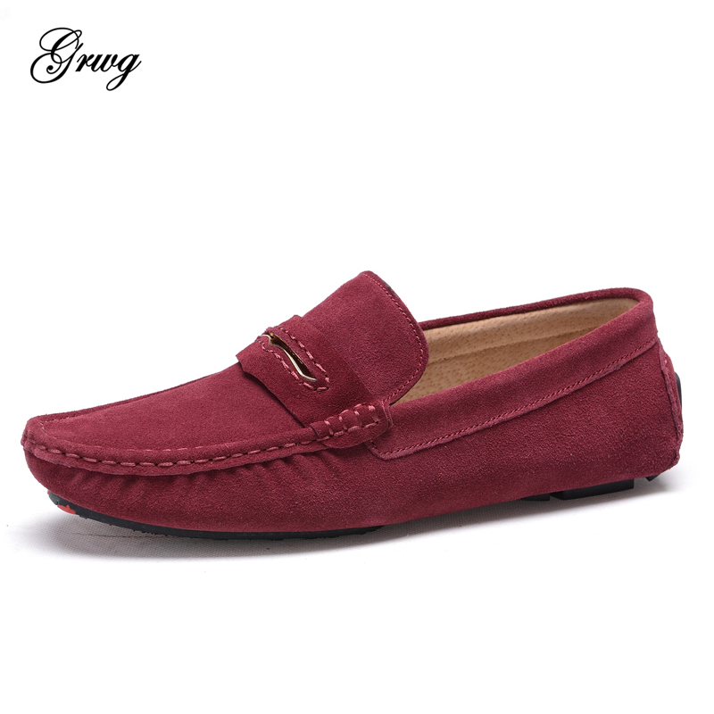 GRWG 2018 New Fashion Causal Shoes Men Loafers High Quality Genuine Leather Men Moccasins Flats Driving Shoes for Man Size 38-44