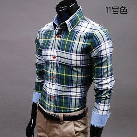 96a73ea20ab38 2015 marca nueva moda camisa a cuadros para hombre de manga larga camisa de  franela Casual hombre vestido de Slim Fit camisa de algodón en Camisas  casuales ...