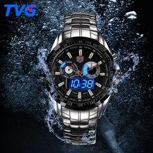 ТВГ Спорт Водонепроницаемый Часы Из Нержавеющей стали Мужские Военный Мужские Кварцевые Наручные Часы Dual time Display Relogio Masculino
