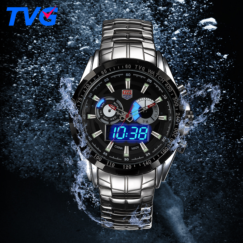 Waterproof Watches Stainless steel Male Army Military Mens Quartz Wristwatches font b Dual b font time