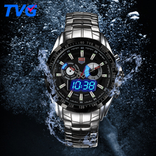 Waterproof Watches Stainless steel Male Army Military Mens Quartz Wristwatches Dual time Display Relogio Masculino reloj hombre