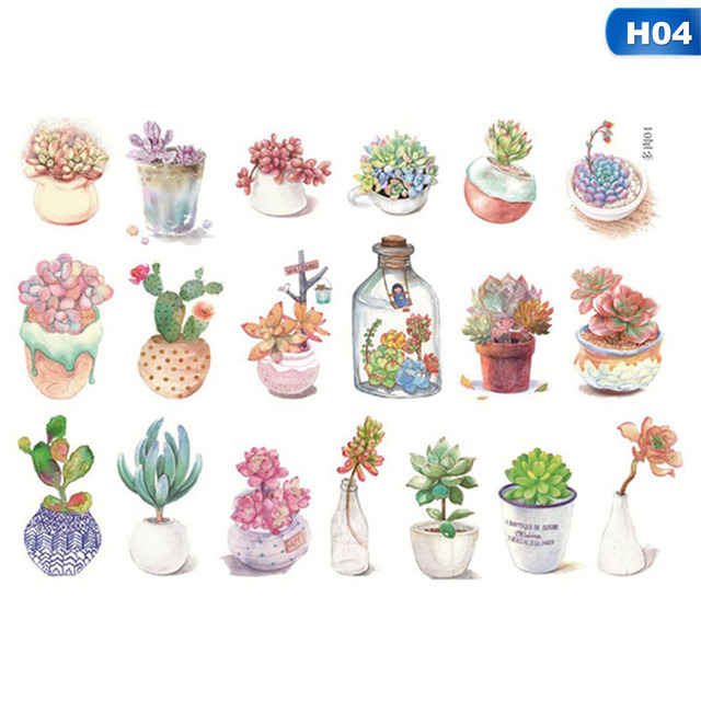 DIY Japanese Adhesive Flower Cute Cactus Paper Stickers