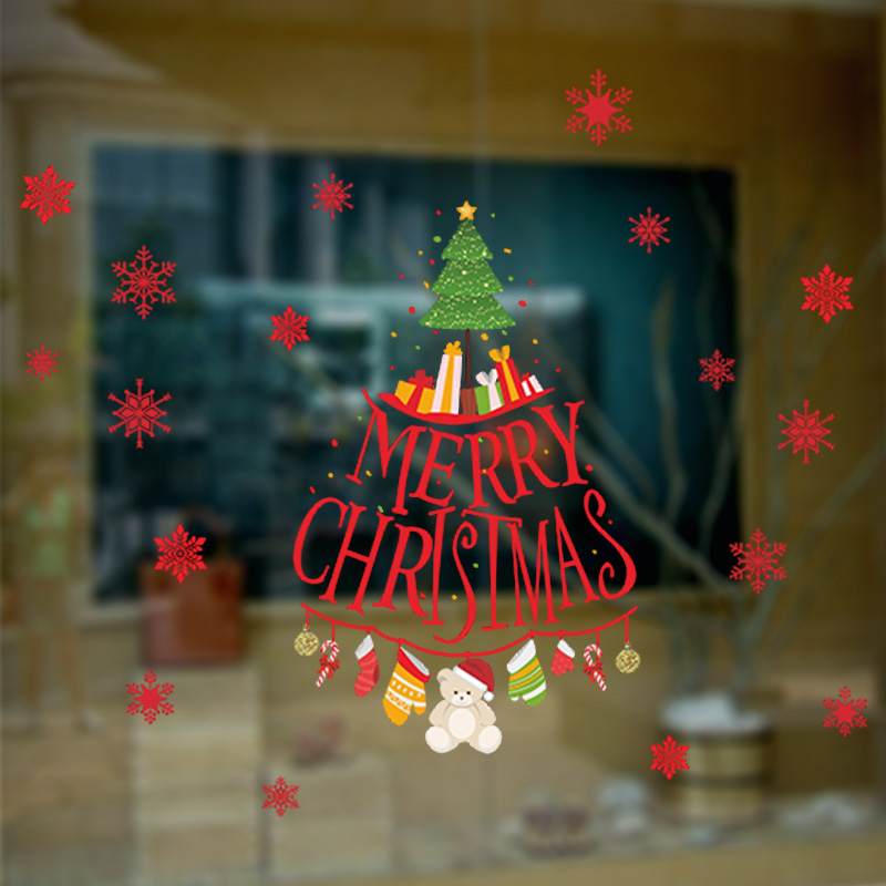 Snowflakes Merry Christmas Tree Decorative Wall Stickers For Shop Store Window Glass Decorations DIY PVC Xmas Mural Art Decals