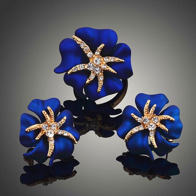 Áustria Cristal Tinta Spray Azul Starfish Anel Brincos Conjunto Banhado A Ouro Anel de Noivado Casamento Brincos Conjuntos de Jóias