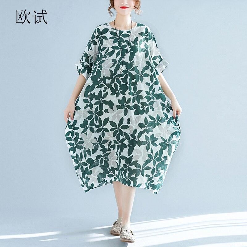 487bba8466 Plus Size Long 2018 Summer Women Green Leaf Cotton Linen Dress Big Size  Floral Print Beach Dresses Casual Loose Elegant Dresses