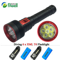 Diving Led Flashlight 6000 Lumens Powerful Torch 6x CREE XML T6 2X 26650 Rechargeable Battery Portable