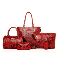 MIWIND New Fashion Leather Handbags High Quality Women Shoulder Bags Buy one get another free Full Set (6 pieces) More Favorable