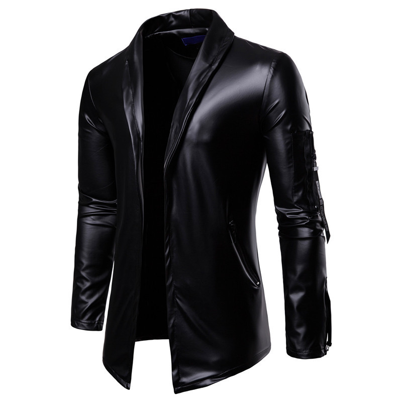 2019 Elastic Zipper Motorcycle Leather Jacket For Men - Lined Stand-up Collar Slimming Leather Jacket