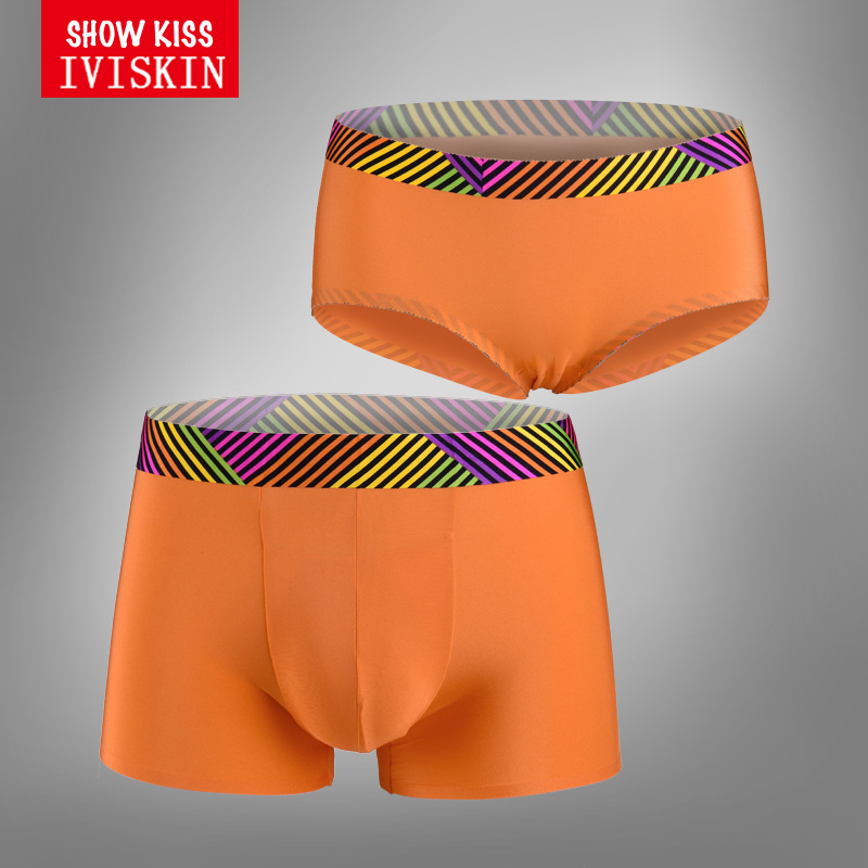 Colorfull Striped Bandage Couple Underwear Cute Orange Womens Boyshorts Mens Boxers Lovers Gifts