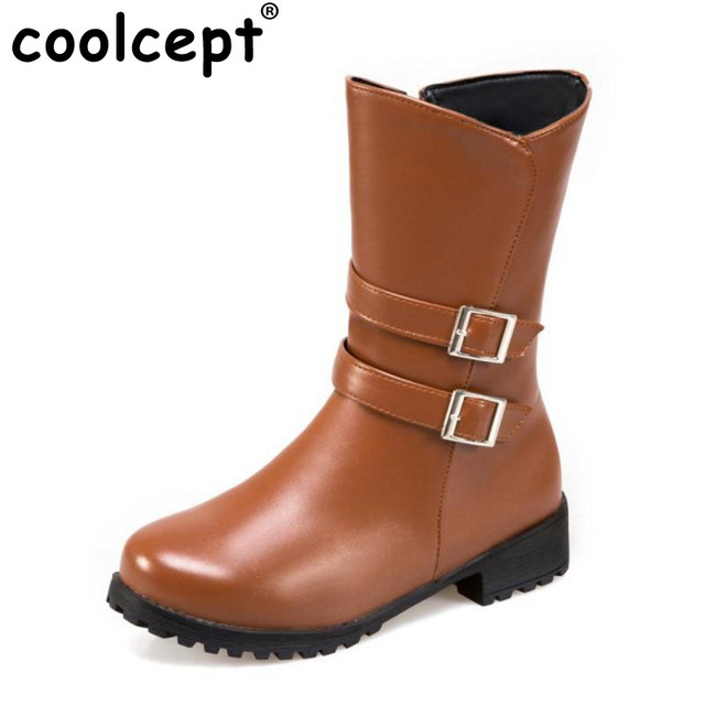 Women Winter Warm Mid Calf Snow Boots With Buckle Straps