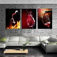 3 Piece Modern Kitchen Canvas Paintings Red Wine Cup Bottle Wall Art Oil Painting Set Bar Dinning Room Decorative Pictures Hd