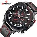 Новые спортивные мужские часы с большим циферблатом и кожаным ремешком, мужские военные наручные часы класса «люкс» на каждый день,  Reloj Hombre 2016 LB80216
