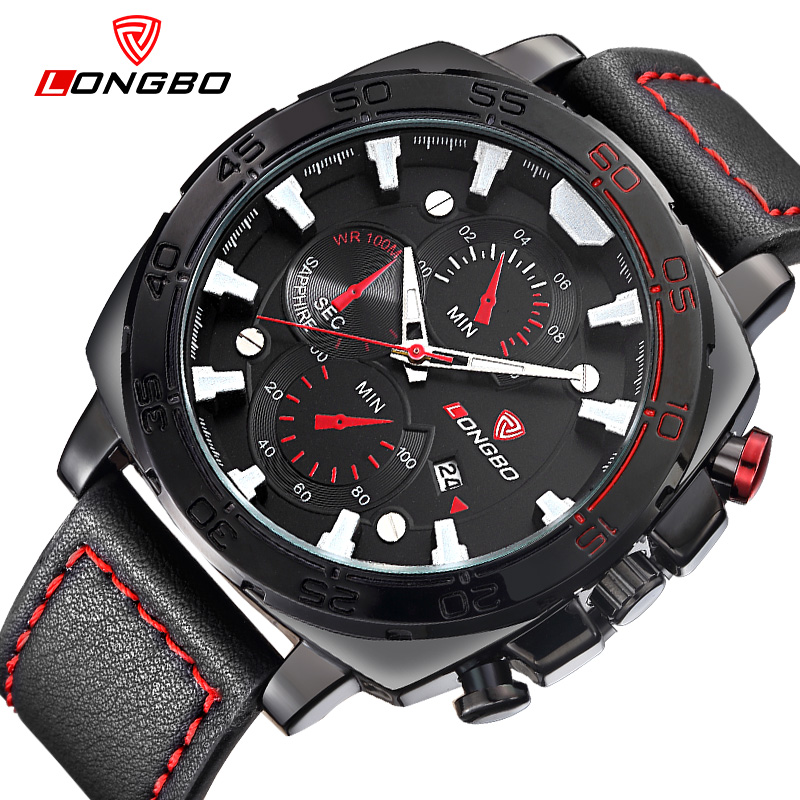 New big dial sport watches for men leather strap military watch male luxury brand wristwatch casual