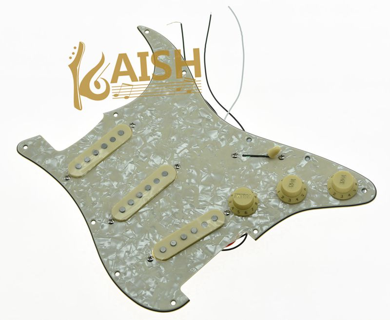 KAISH Loaded Prewired ST Strat Pickguard with Alnico Pickup Aged Pearl for USA Fender loaded prewired st strat pickguard with alnico pickup black 3 ply for usa fender