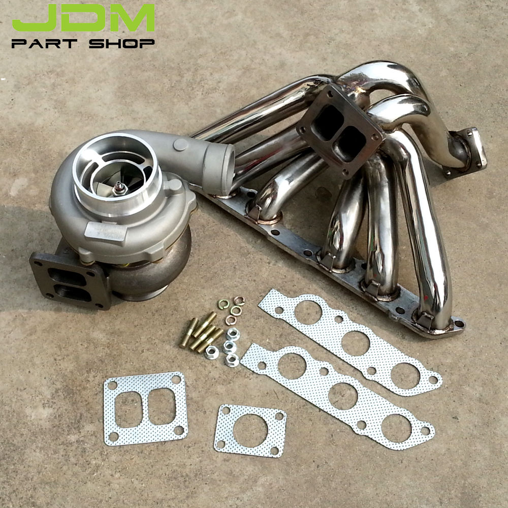 US $437 0 5% OFF GT45 A/R 1 32 WATER TURBOCHARGER UPGRADE KIT+ EXHAUST  MANIFOLD for 93 98 TOYOTA SUPRA 2JZ GE-in Turbo Chargers & Parts from