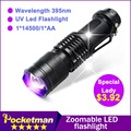 zk50  LED UV Flashlight NEW Arrival Shock Resistant CREE Q5 SK68 Purple Violet Light UV 395nm Lamp 1*14500/1*AA Free Shipping