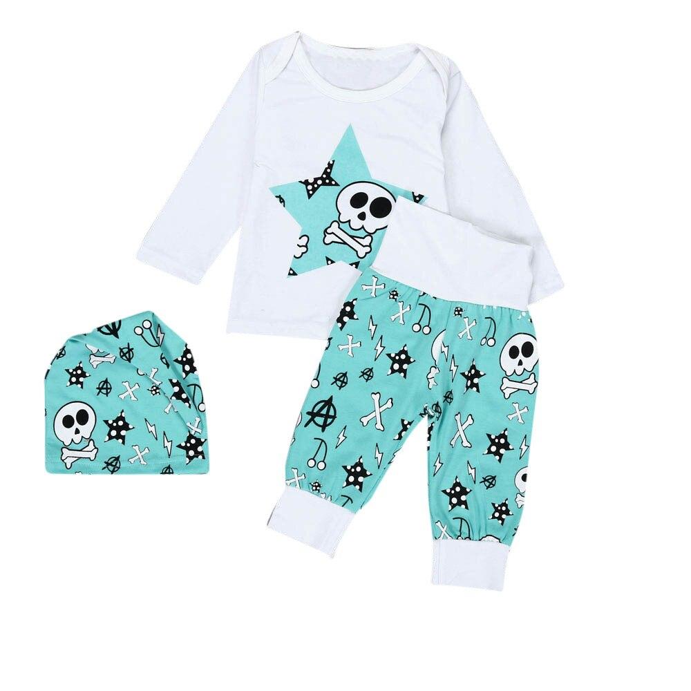 Hot sale 3Pcs Newborn Baby Boys Girls Clothes Long Sleeve Skull Printing T-Shirt+Long Pants+Hat Outfit Set soft baby clothing
