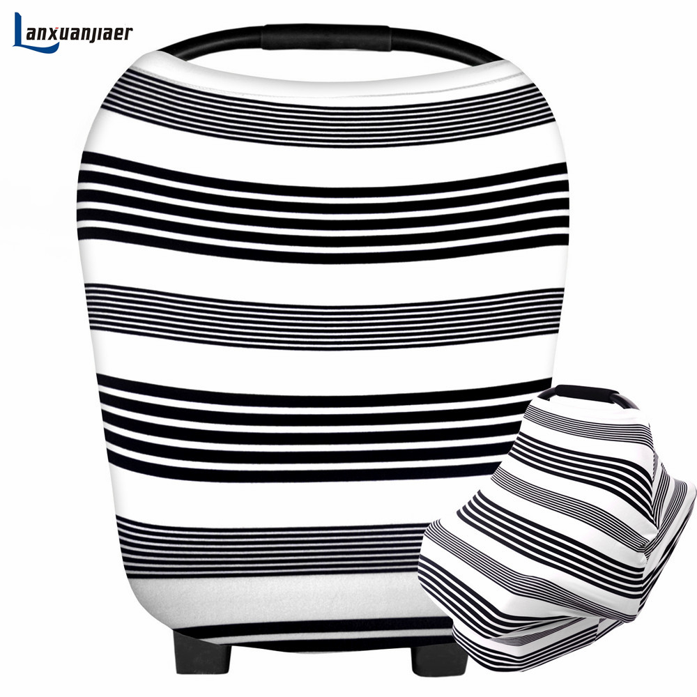 Lanxuanjiaer Nursing Cover Newborn Car Seat Cover Infant Breathable Safe Baby Multi Use cotton stripe Breastfeeding Cover Scarf