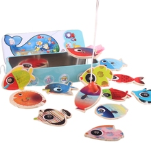 Children'S Wooden Stick Toy Fish Magnetic Toys Fishing Game Tin Box Children'S Educational Toys Parent-Child Interactive Games shark bite game funny toys desktop fishing toys kids family interactive toys board game