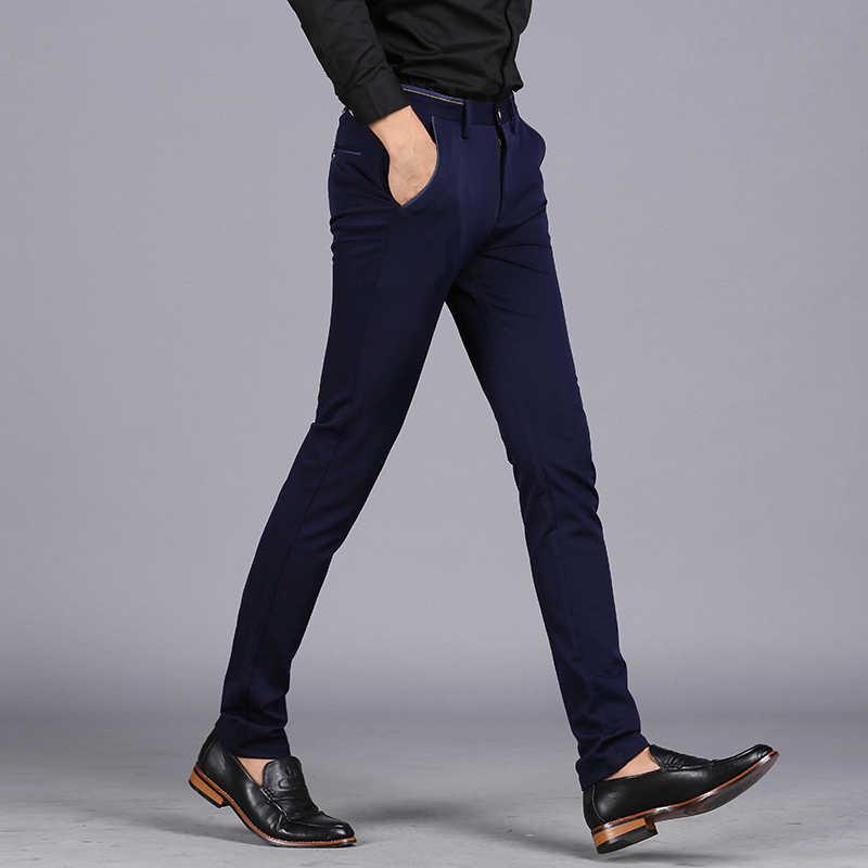 86bbfc2d014 ... 2019 Spring Non-Iron Dress Men Classic Pants Fashion Business Chino Pant  Male Stretch Slim ...