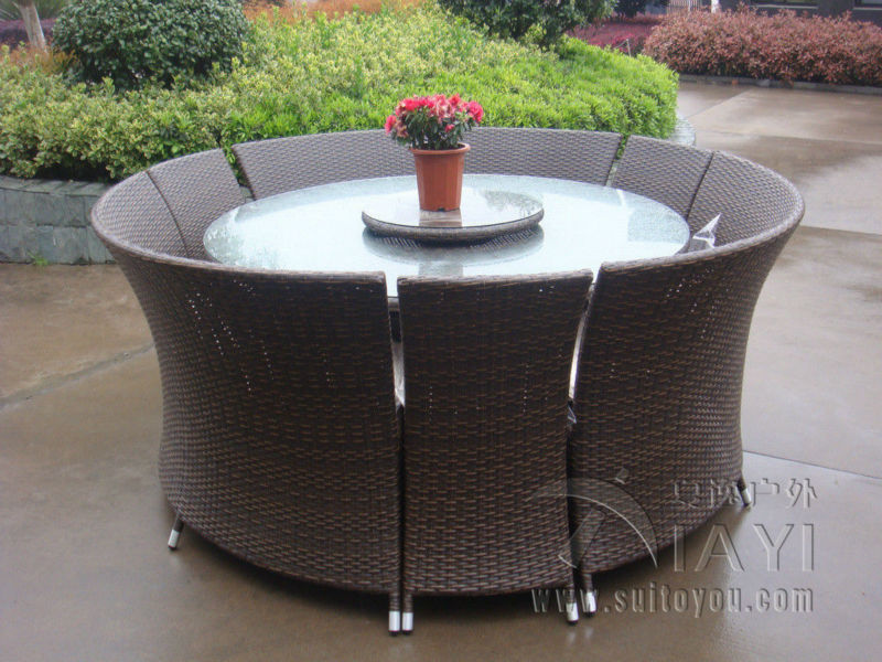 7 pcs outdoor rattan garden dining sets all weather waterproof sofa set transport by sea