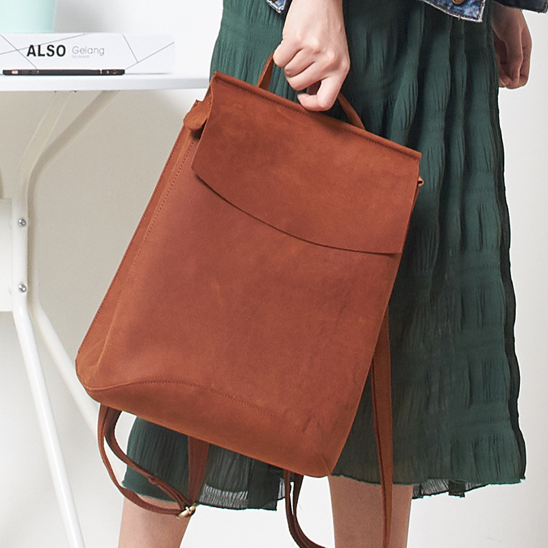 Top Quality Crazy Horse Retro Women Backpack Genuine Real Leather Rouksack Urban Fashion Leisure Laptop Bag
