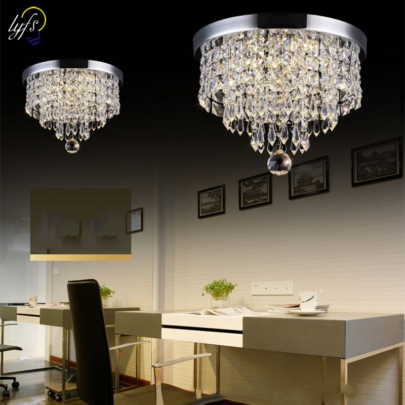 Crystal Chandeliers Light Modern Decor Flush Mount Fixture With Crystal Ceiling Lamp For Hallway Bar Kitchen