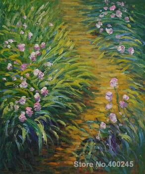 Landscape Oil Painting Irises by Claude Monet Room decor Hand painted High quality
