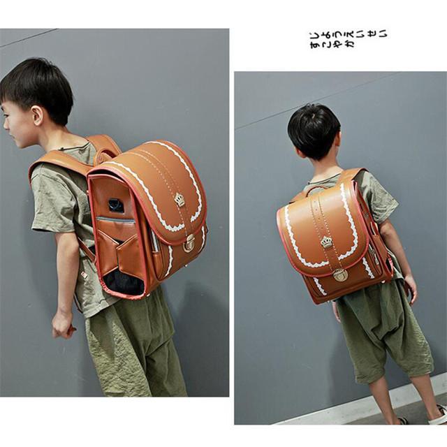 Waterproof PU Randoseru School Backpack Japan Children School Bag Kid Orthopedic Satchel