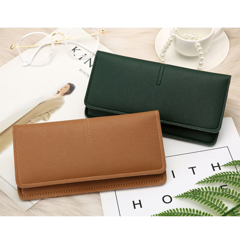 2019 New Arrival Wallet Long Women Wallets Purse Simple Solid Female Ladies Clip Trendy Coin Purse Card Holder Leather Money bag(China)