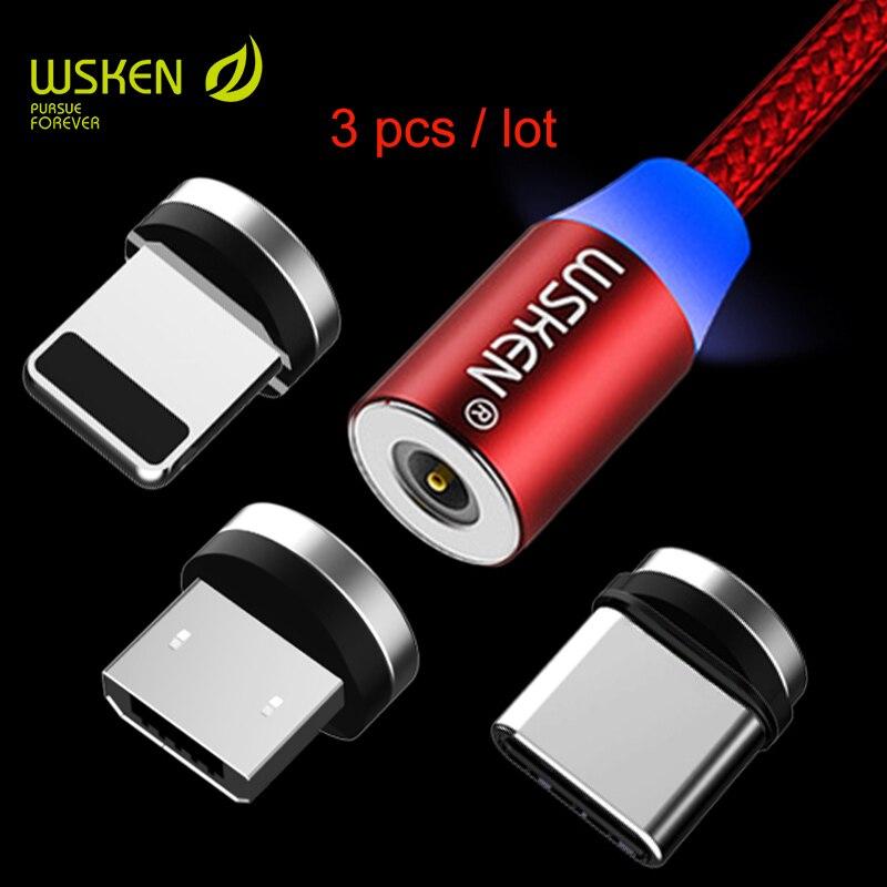 WSKEN 3pcs/lot magnetic micro USB type c USB C cable for Sansung s9 s8 USB magnetic cable for iPhone x 8 7 6 USB cable type-c 1m
