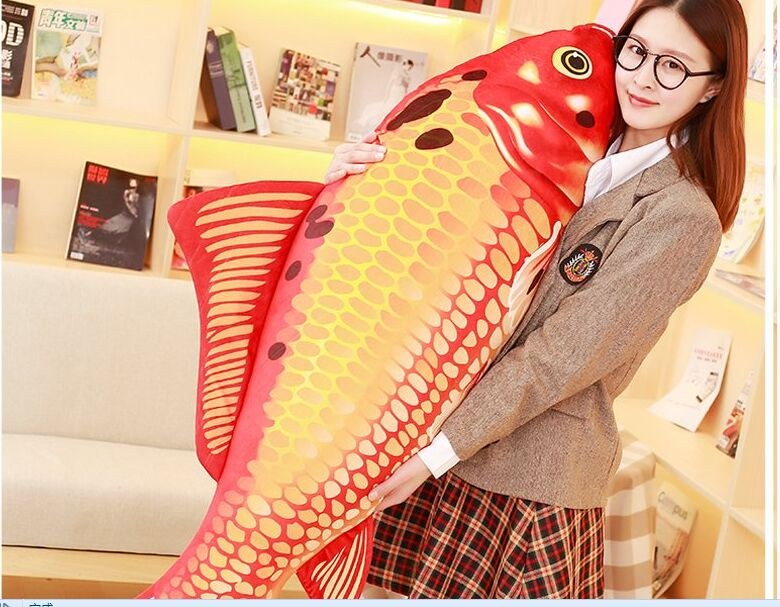 big new plush red fish toy creative carp pillow gift about 140cm 1pcs 52 26cm creative novelty item funny women big mouth shape cushion pink red lip plush toy throw pillow for couch pregnancy