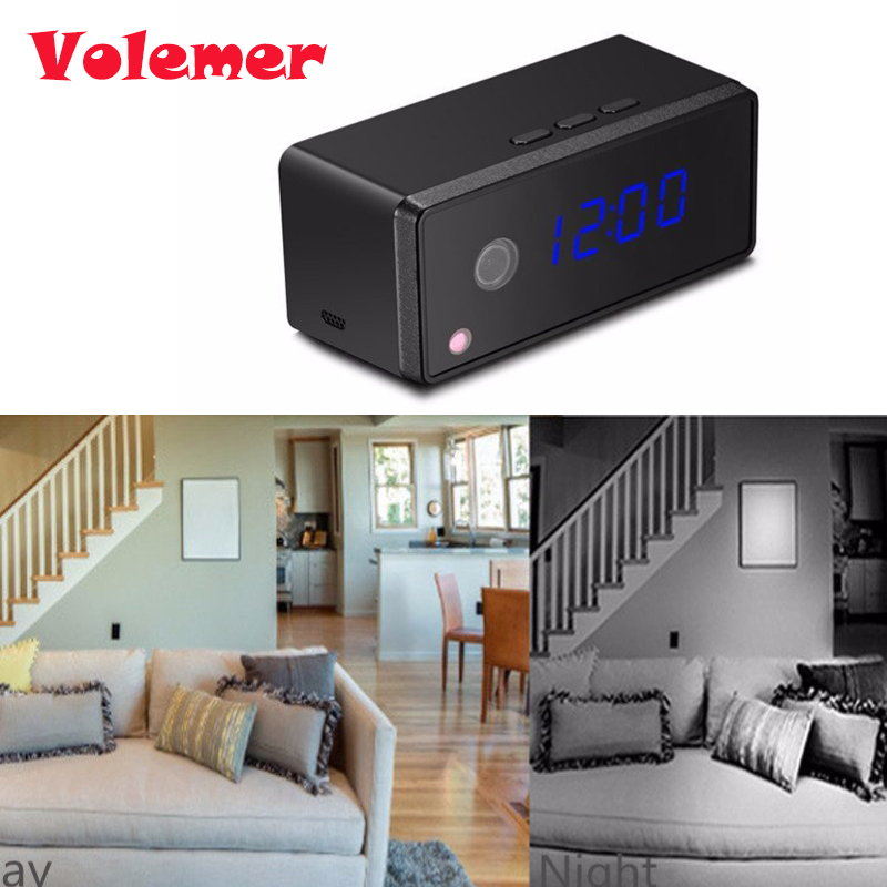 Volemer Table Clock Camera 1080P 720P Wifi Clock Camera Alarm Setting IR Night Vision Mini Camera Motion Sensor Mini Camcorder цена