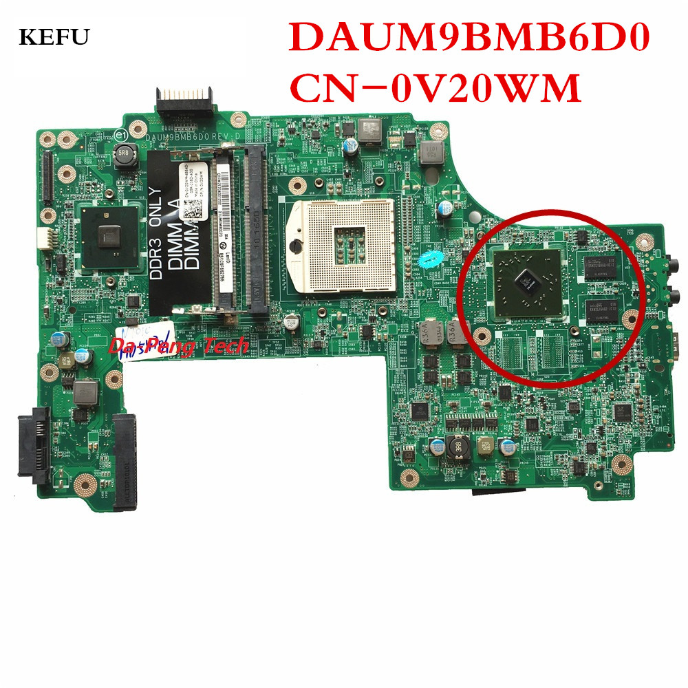 KEFU For Dell N7010 Laptop motherboard DAUM9BMB6D0 REV D Mainboard with 1GB Video card 100 tested